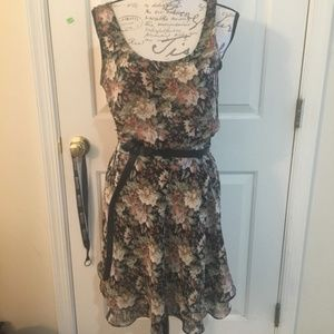 Express Dark Floral Belted Two Piece